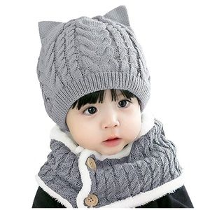 Girl Winter Hat, Toddler Cat Beanie Kids 2 Pieces